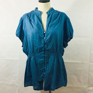 P20 Torrid Blue Dot Blouse Shirt Sz 2 Plus